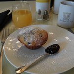 1st breakfast course - a freshly made and served hot blueberry muffin with Stone Maiden Inn jam