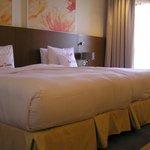 Large beds put together making a huge bed