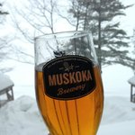 The resort served up fresh draft Muskoka Brewery beer - perfect.
