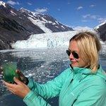 Enjoying a glacier ice margarita in Prince William Sound