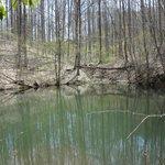 A pond below the hill