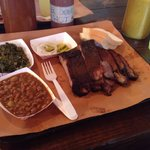 Brisket and Rib Platter with collards and bake beans