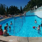 James, Cory, Caleb and Riley playing water volleyball. Part of the hotel afternoon games