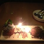 birthday chocolate treat w/ candles!