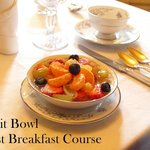The first (of three) course is always a bowl of fruit.