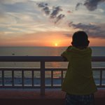 My son watching the sunset