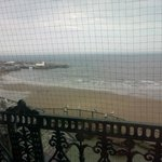 view from window - netting is to stop seagulls perching