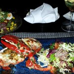Lobster and salad at the restaurant in the lounge