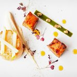 Hand dived king scallop and pork belly