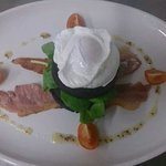 Poached egg on black pudding.