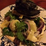 Vine Leaf Wrapped Barramundi Fillets Char Grilled With Hummus, Parsley, Artichoke & Olive Salad