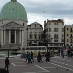 Looking directly across the Grand Canal from the train station, hotel is one away from church