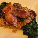 Ahi Tuna With Creamed Spinach and Mediterranean Farrow Grains