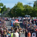The crowded Beechworth streets
