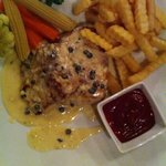 grilled fish with pepper sauce