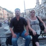 Near the fountain on the Piazza Navona