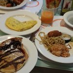 Some of the food from breakfast buffet