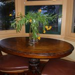 Table in bay window of front room