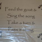 Sung during goat feedings and the end each time says pass it on to the next person