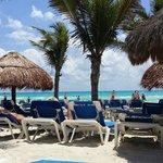 Plage ombragée de cocotier et parasols en palmes
