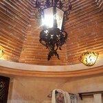 Bathroom celing and chandelier