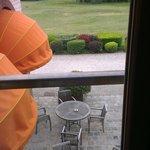vue sur la terrasse et le départ du 1
