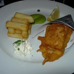 Cone of two fish, chips, pea puree