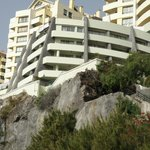 The 59 room hotel is the curved building on the clifftop