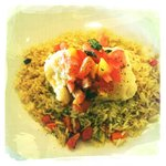 Cod Fillet with Mango Salsa and Rice