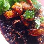 Stir fried prawns with tamarind sauce