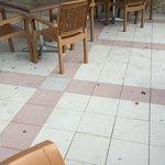 Chewing gum & dirt on floor