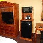 TV, microondas e frigobar