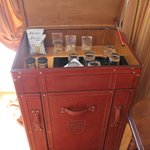The free minibar with snacks, drinks and beer
