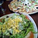 Vegetarian Pizza and Vegetarian Salad