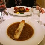 Confit de Canard and French onion soup
