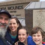 SkrentnyWood Family at Cahokia Mounds Visitors Center Sign
