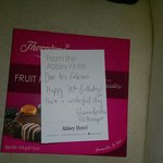 Chocolates and note left in the room