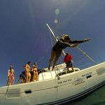 Jumping off catamaran at Isla de Lobos