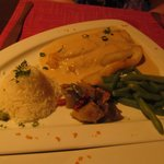 Parrot fish stuffed with crab