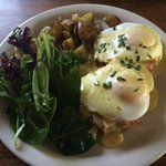 Eggs benedict on a ham & gruyere biscuit