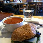 Tomato soup and aubergine sandwich for lunch