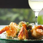 Crispy Gulf King Prawns with roasted pumpkin, wakame and pickled ginger salad