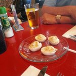 Deviled bacon eggs instead of bread.