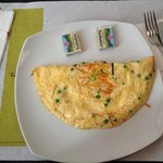 omelette with onion, carrot, etc