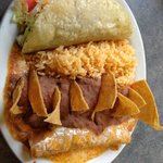 Combo platter with taco and enchilad, beans and rice.  So Good!!  Del Rios  |  644 Main St , Win