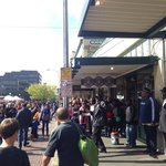 Original Starbucks, with a long waiting line