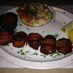 Bacon wrapped sea scallops and cauliflower