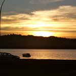 Sunset over the lake from our studio