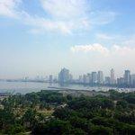 Manila skyline view from the 10th floor of Sofitel Philippine Plaza Hotel.
