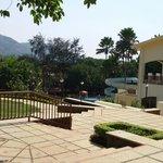 Resort gardens and pool slides..